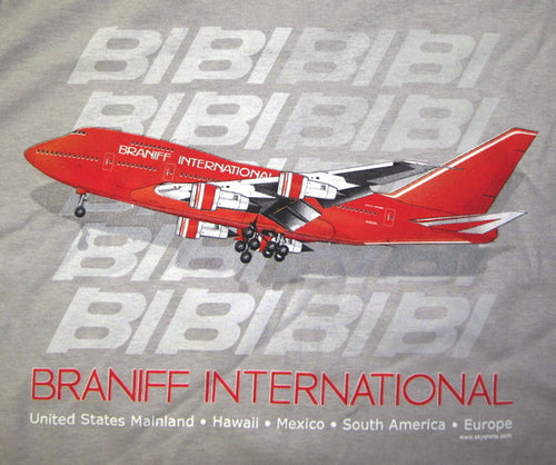 T-Shirt Braniff Sheppard Collection 1979 747SP-27 Ice Grey