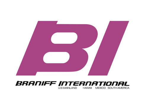 Poster or Banner Braniff BI Countries Served Pink Black