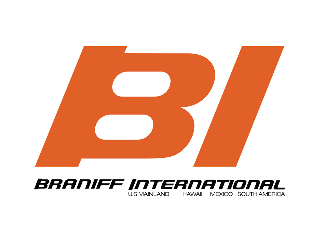 Poster or Banner Braniff BI Countries Served Orange Black