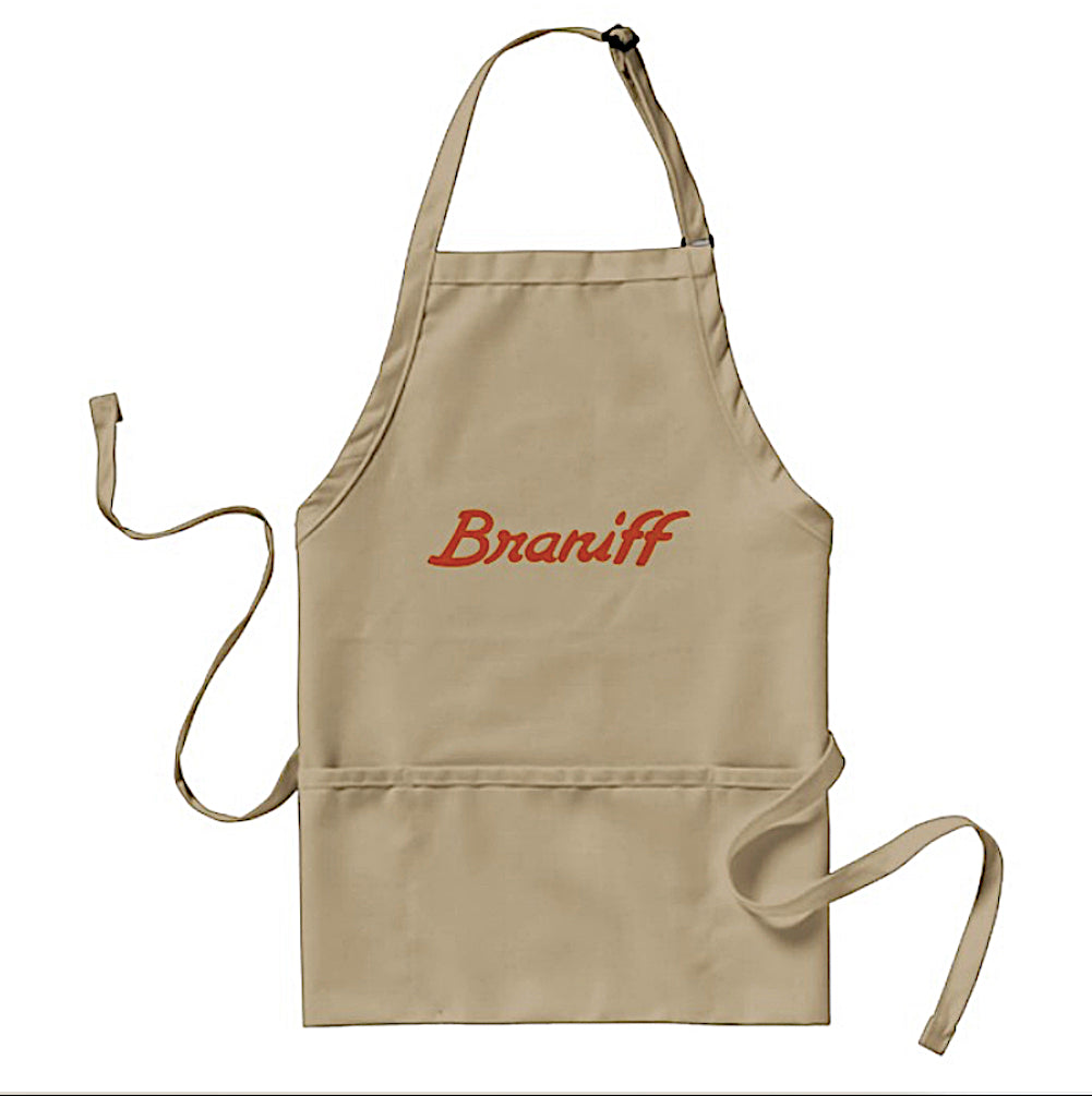Apron Cooking BBQ and Gardening Braniff Orange Ultra Script