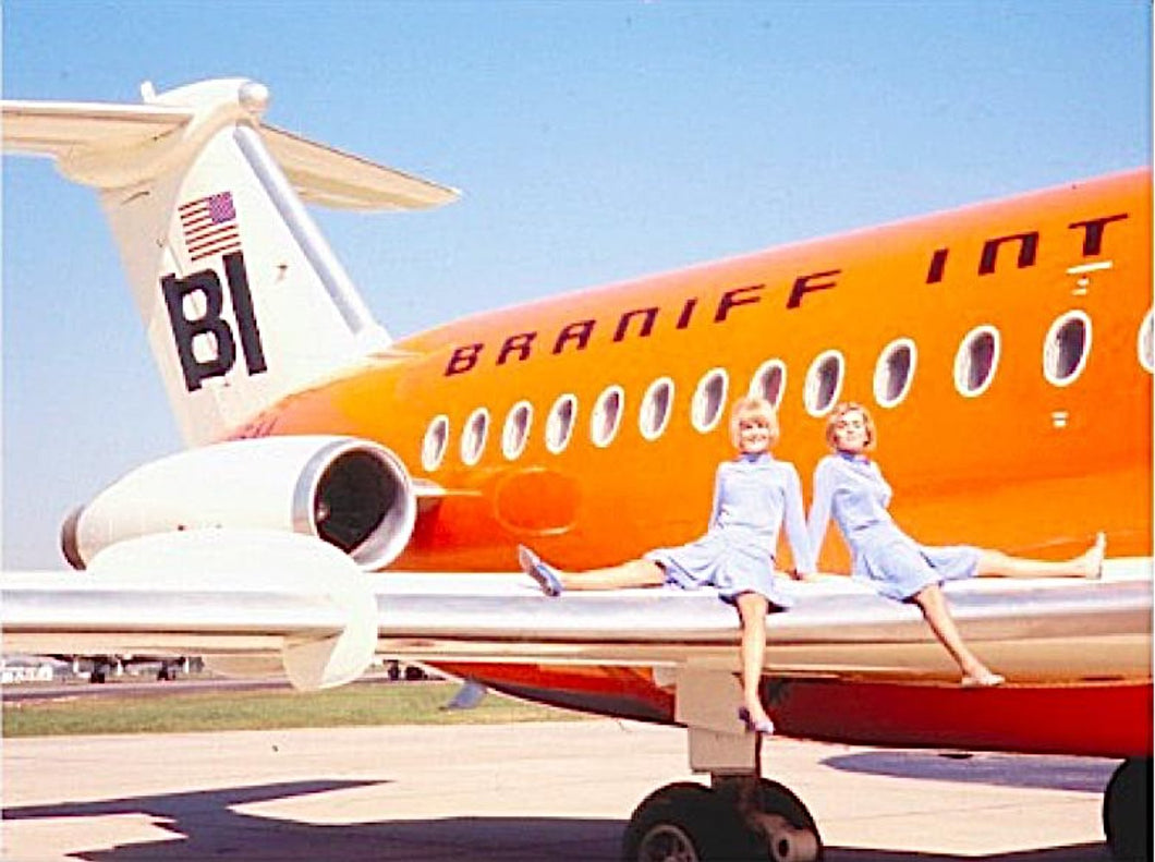 Poster Braniff International Pucci Hostesses with BAC One-11