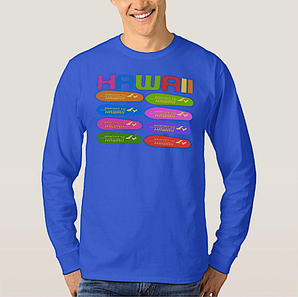 T-Shirt Braniff Hawaii Surfboard Blue Long Sleeve