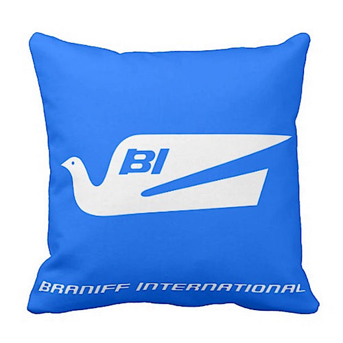 Pillow Braniff Bluebird of Happiness BI Script Multiple Colors
