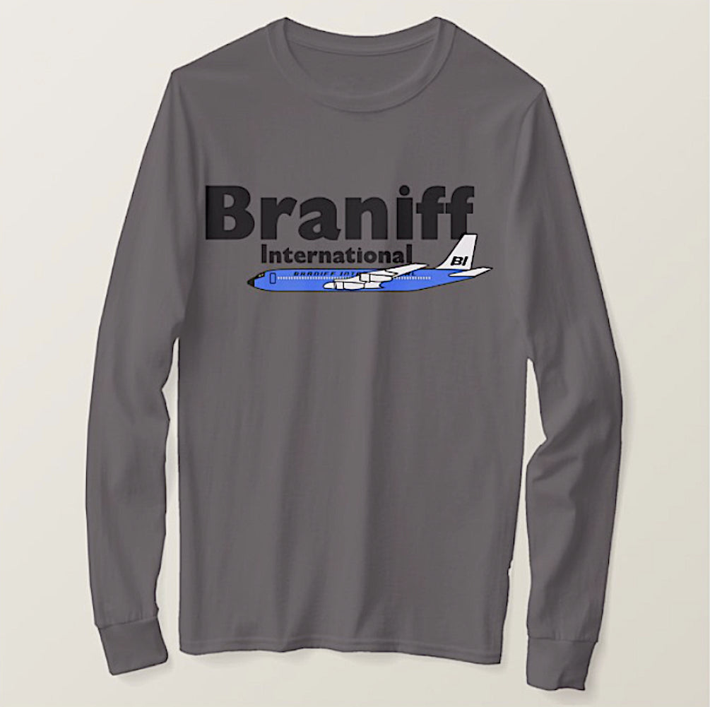 T-Shirt Braniff International Blue Boeing 707 Gray Long Sleeve