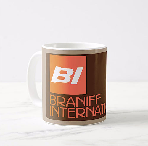 Coffee Mug 11 oz Braniff BI Logo and Ultra Font Orange and Brown