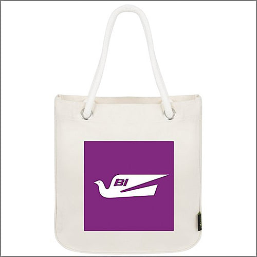 Tote Bag Organic Cotton Rope Braniff Bluebird Purple