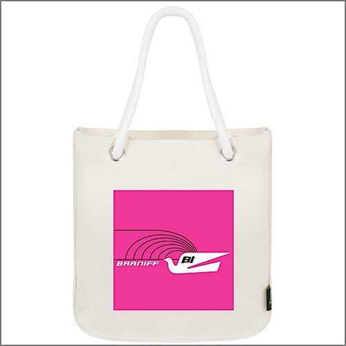 Tote Bag Organic Cotton Rope Braniff Jetset Bluebird Hot Pink