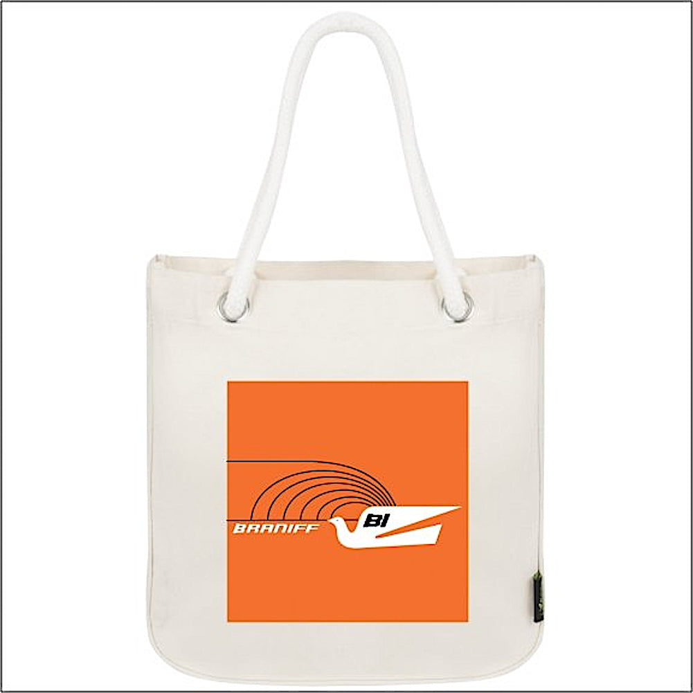 Tote Bag Organic Cotton Rope Braniff Jetset Bluebird Orange