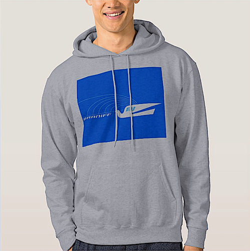 Hoodie Sweatshirt Braniff Jetset Bluebird Blue Gray Long Sleeve