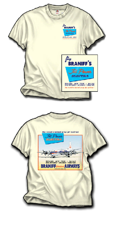 T-Shirt Braniff Sheppard Collection L-188 Electra Ivory