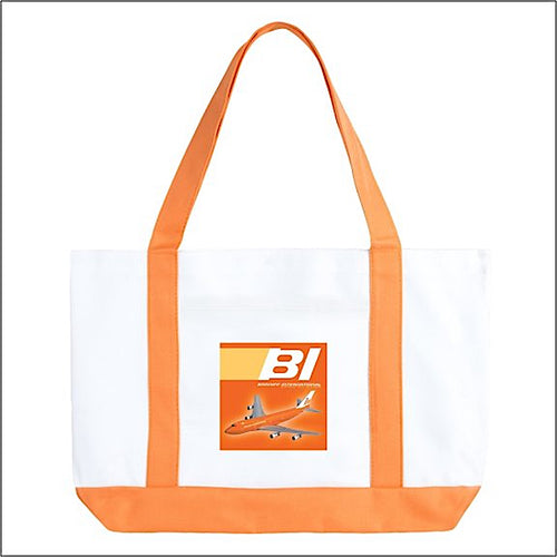 Tote Bag Large Boat 747 Braniff Place Orange