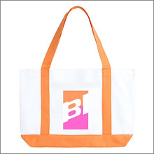 Tote Bag Large Boat Slant Braniff BI Logo Orange Pink