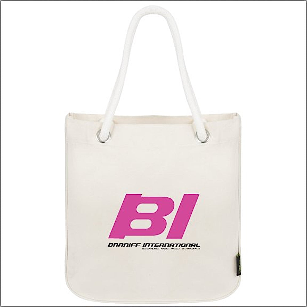 Tote Bag Organic Cotton Rope Braniff BI Countries Served Hot Pink