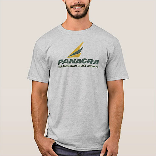 T-Shirt Braniff Panagra Pan American Grace Airways Gray Short Sleeve