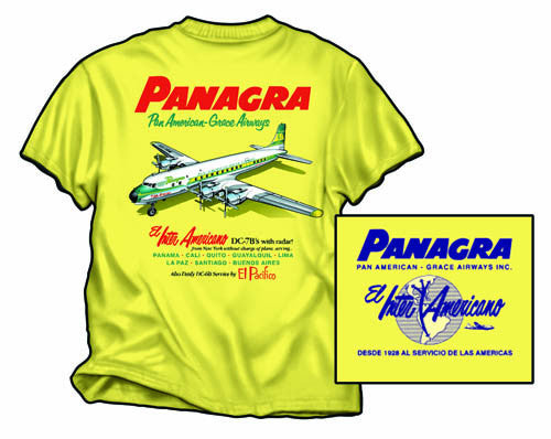 T-Shirt Braniff Sheppard Collection Panagra DC-7 Yellow