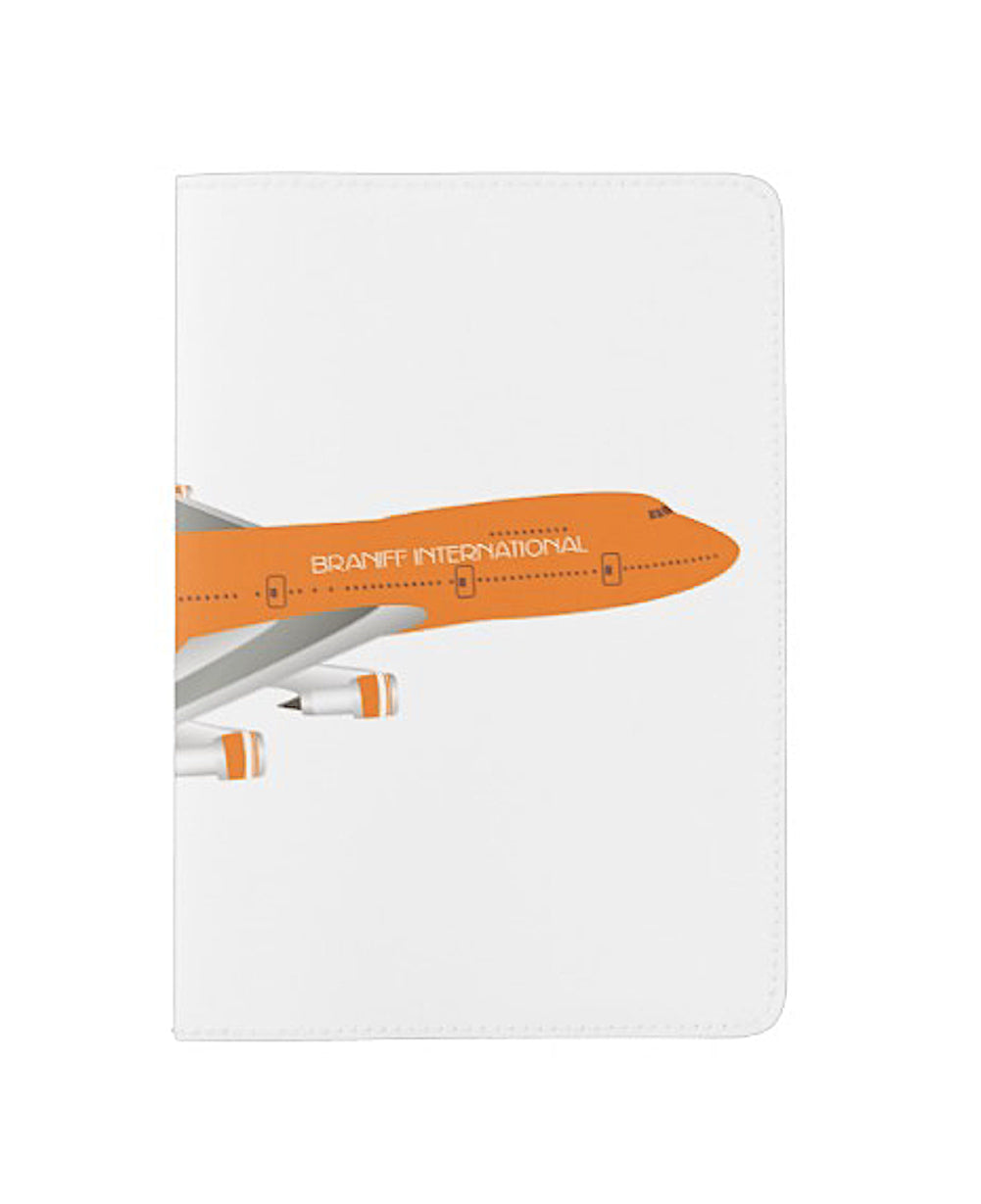 Passport Cover Eco-Friendly Handsewn Braniff 747 Ultra Orange