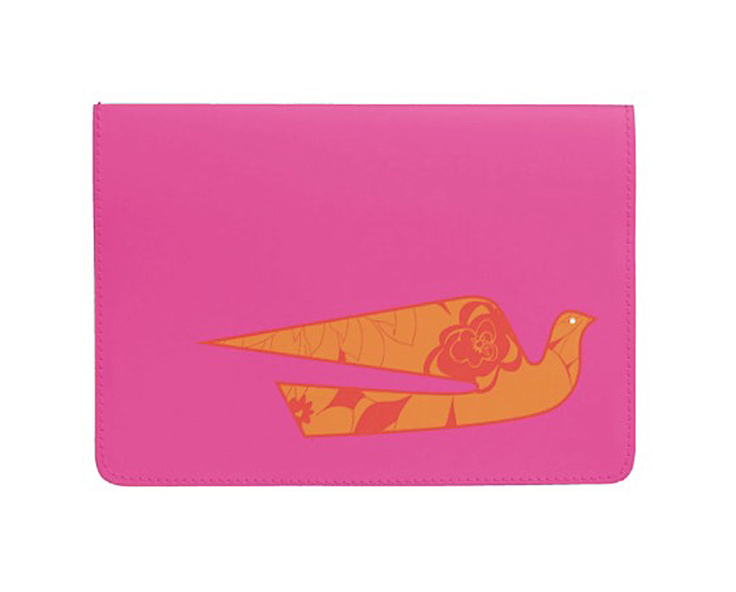 Passport Cover Eco-Friendly Handsewn Hawaiian Braniff Alexander Girard Design Bluebird Orange Hot Pink