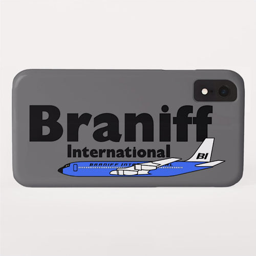 Phone Case iPhone and Galaxy Barely There Braniff Blue Boeing 707 in Dark Gray