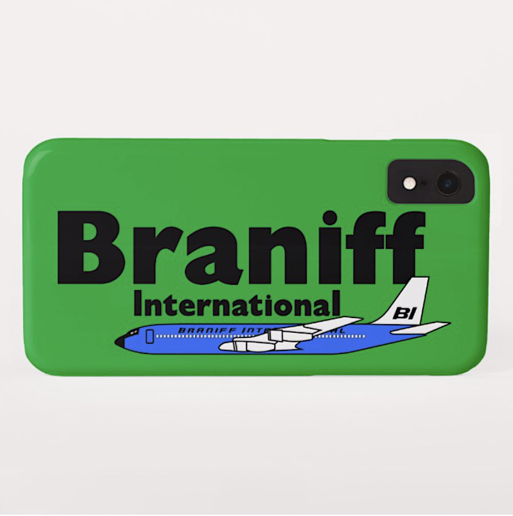 Phone Case iPhone and Galaxy Barely There Braniff Blue Boeing 707 in Green