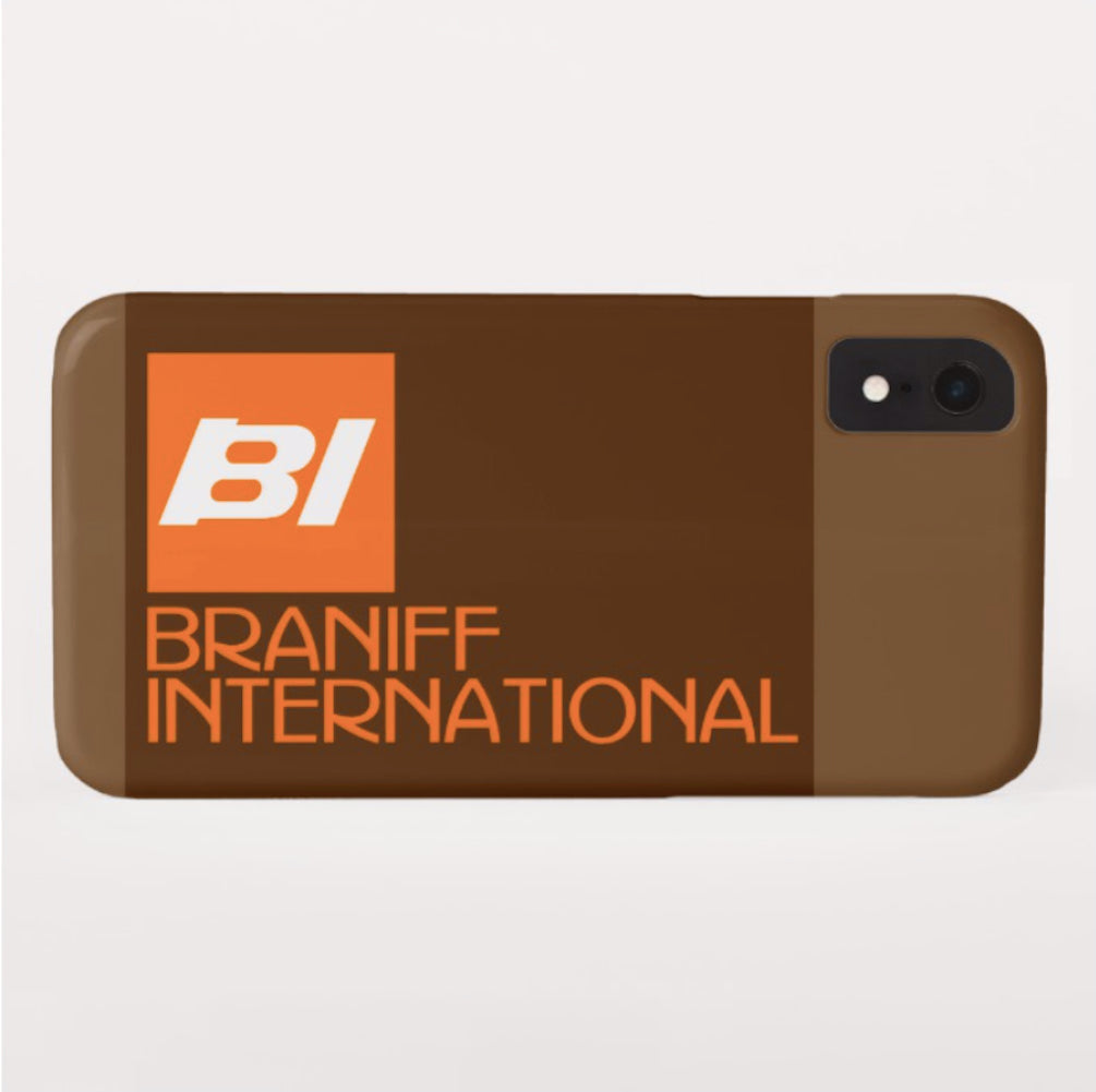 Phone Case iPhone and Galaxy Barely There Braniff BI Logo Orange Brown Beige
