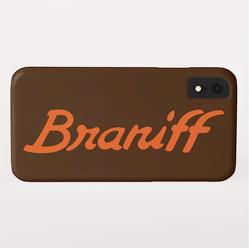 Phone Case iPhone and Galaxy Barely There Braniff Ultra Logo Orange Brown