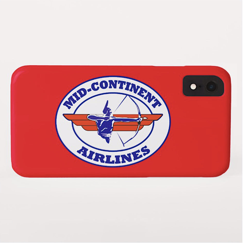 Phone Case iPhone and Galaxy Barely There Braniff Mid-Continent Airlines Cross and Bow Logo Red
