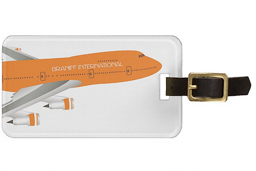 Luggage Tag Personalized Braniff 747-227 Ultra Orange