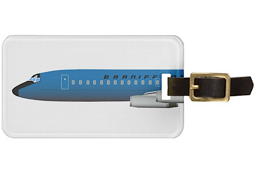 Luggage Tag Personalized Braniff DC-8-62 Blue