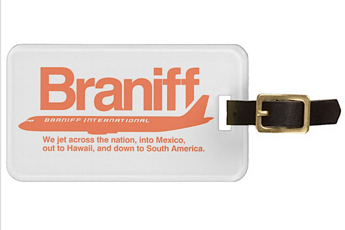 Luggage Tag Personalized Braniff DC-8-62 Across Country Orange