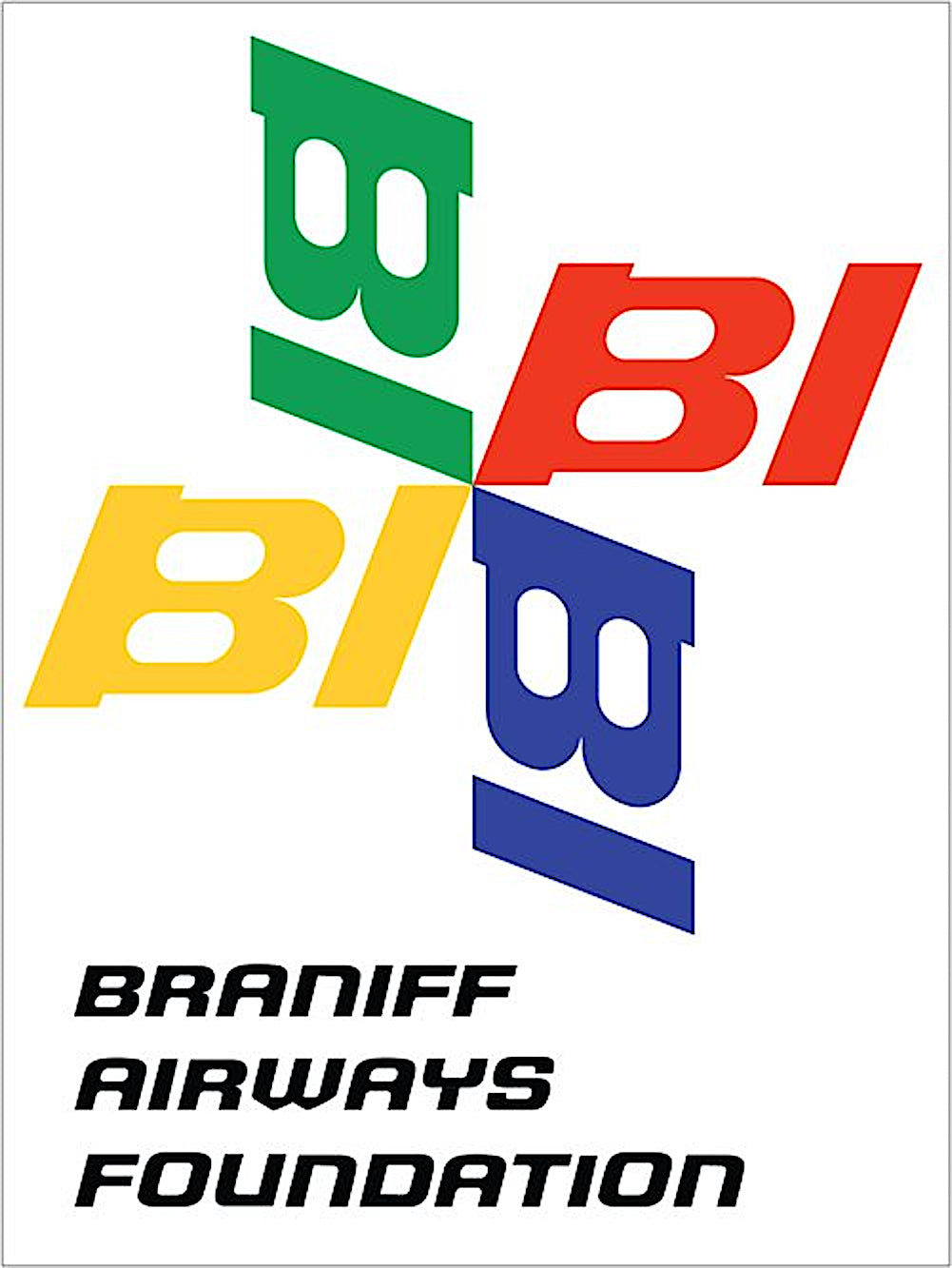 Poster or Banner Braniff Airways Foundation Pinwheel Block Lettering