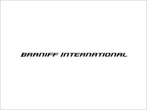 Poster or Banner Braniff International Sky Font Script Black White