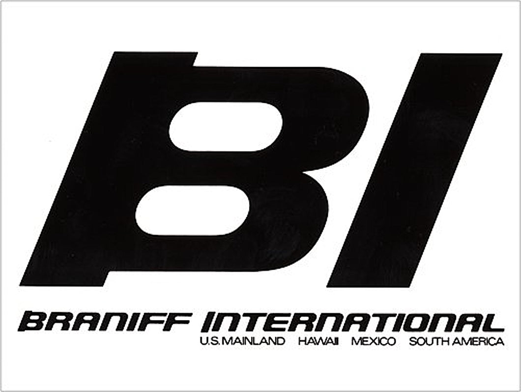 Poster or Banner Braniff BI Countries Served Black