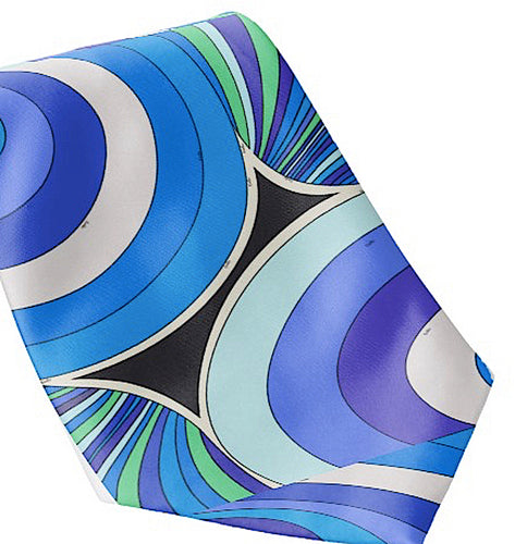 Necktie Men's Braniff Pucci Design 1972 Ground Swirl Blue