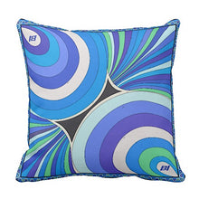 Pillow or Lumbar Bar Pillow Braniff Pucci Design 1972 Collection Blue