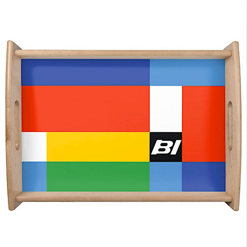 Serving Tray Wooden Blonde with Braniff Logo