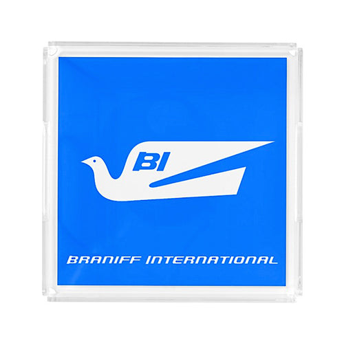 Serving Tray Acrylic Small Square Braniff Bluebird Blue BI Script
