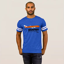 T-Shirt Short Sleeve Football Royal Blue Braniff 747 Countries Served Logo
