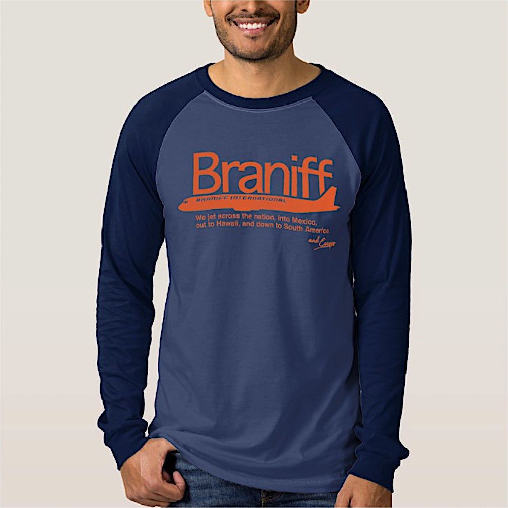 T-Shirt Braniff Dark Blue Long Sleeve DC-8 Countries Served Orange
