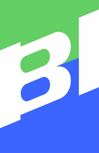 Poster or Banner Braniff Two Tone Slant BI Green Blue