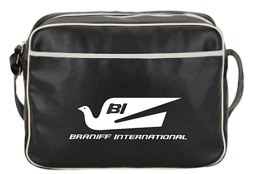 Flight Bag Retro Braniff Alexander Girard Design Bluebird of Happiness Black