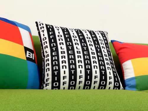 Pillow and Lumbar Bar Pillow Braniff Alexander Girard Design BI Stripe Black White