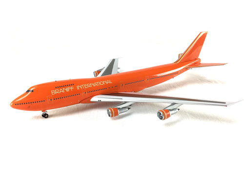 Airplane Model Braniff International Boeing 747-227B Orange Ultra 1/200 Scale