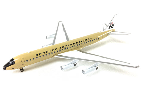 Airplane Model Braniff International McDonnell-Douglas DC-8-62 Girard Beige Solid 1/200 Scale