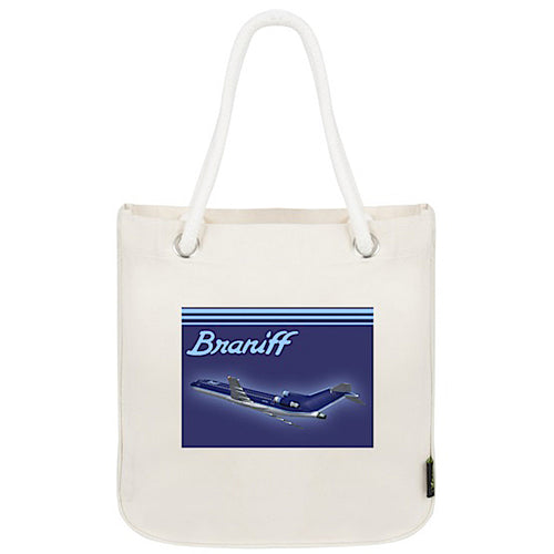 Tote Bag Organic Cotton Rope Braniff 727 Ultra Mercury Blue