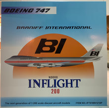 Airplane Model Braniff International Boeing 747-123 N9666 Big Alcoa 1/200 Scale with Metal Stand
