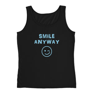"""Smile Anyway"" Tank Sky Blue Letter"