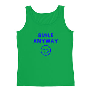"""Smile Anyway"" Tank Blue Letter"
