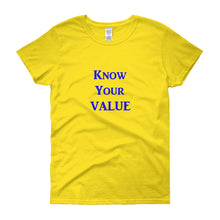 "Load image into Gallery viewer, ""Know Your Value"" Blue Letter"