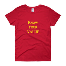 "Load image into Gallery viewer, ""Know Your Value"" Gold Letter"