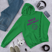 "Load image into Gallery viewer, ""Smile Anyway"" Hoodie Purple"